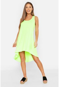 Womens Neon-green Petite Neon Dip Hem Beach Dress