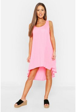 Womens Neon-pink Petite Neon Dip Hem Beach Dress
