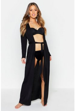 Womens Black Petite Belted Longline Beach Cover Up
