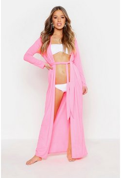 Womens Neon-pink Petite Belted Longline Beach Cover Up
