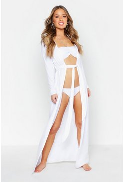 Womens White Petite Belted Longline Beach Cover Up