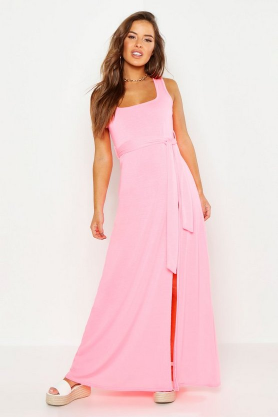 Womens Neon-pink Petite Square Neck Dress