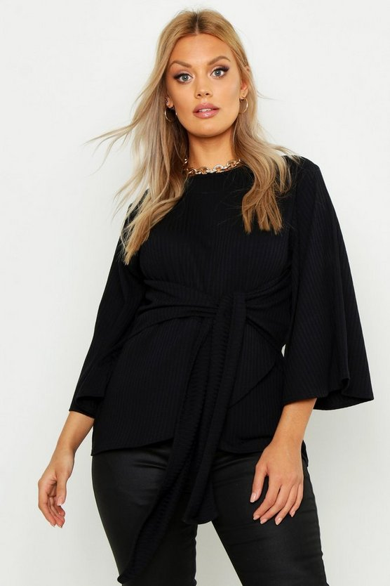 Womens Black Plus Jumbo Rib Kimono Sleeve Tie Waist Top