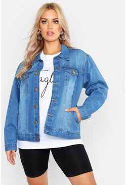 Womens Light wash Plus Oversized Vintage Look Denim Jacket