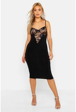 Plus Lace Cup Slinky Neon Midi Dress