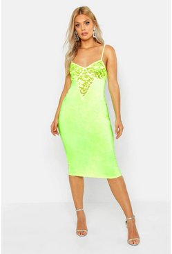 Womens Neon-lime Plus Lace Cup Slinky Neon Midi Dress