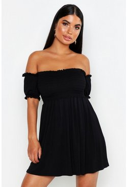 Womens Black Petite Sheered Balloon Sleeve Skater Dress