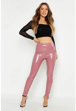 Petite Leggings in Vinyl-Optik, Blassrosa, Damen