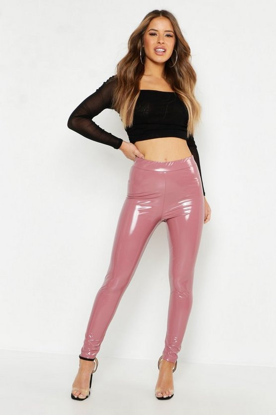Womens Blush Petite Vinyl Leggings
