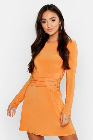 Womens Tangerine Petite Slinky Wrap Front Swing Dress