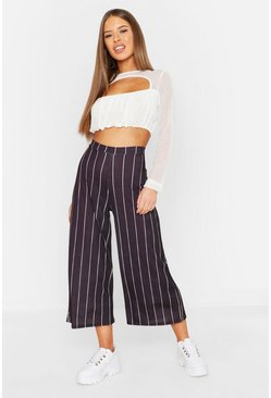 Womens Black Petite Rib Stripe Wide Leg Culottes