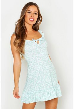Sage Petite Ruffle Hem Floral Mini Dress