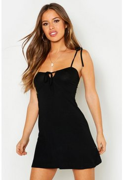 Womens Black Petite Bust Cup Tie Detail Fit & Flair Dress