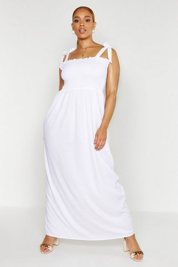 White Plus Shirred Tie Shoulder Maxi Dress