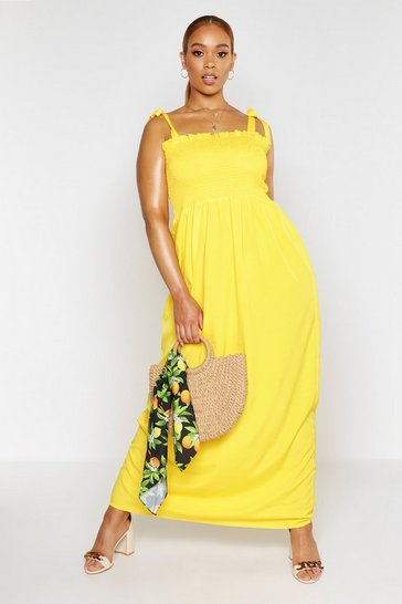 Yellow Plus Shirred Tie Shoulder Maxi Dress