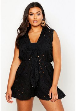 Womens Black Plus Beach Broderie Anglaise Tie Front Playsuit