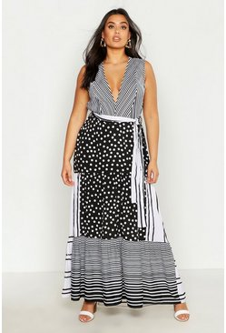 Womens Black Plus Mixed Spot & Stripe Ruffle Maxi Dress