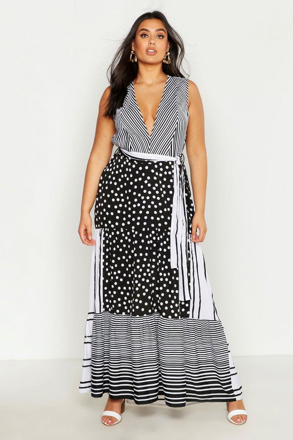 6badf6b588 Womens Black Plus Mixed Spot & Stripe Ruffle Maxi Dress