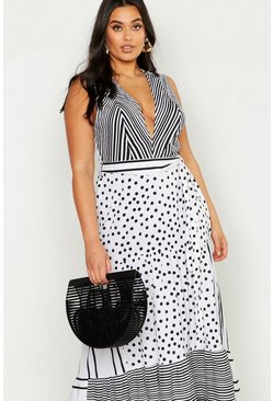 Womens White Plus Mixed Spot & Stripe Ruffle Maxi Dress