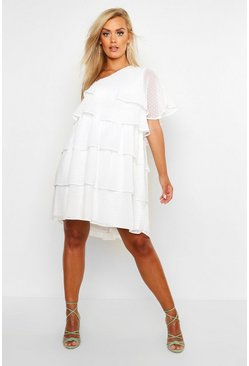 Womens White Plus One Shoulder Dobby Ruffle Swing Dress