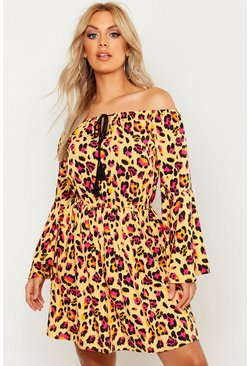 Womens Yellow Plus Leopard Print Flare Sleeve Beach Dress