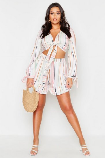 Womens Ivory Plus Tie Sleeve Beach Striped Co-Ord