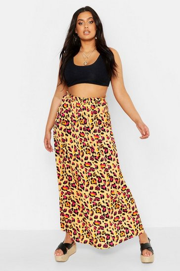Womens Yellow Plus Leopard Print Woven Beach Maxi Skirt