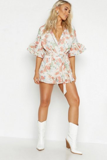 Womens Nude Petite Floral Ruffle Sleeve Plunge Playsuit