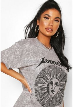 Black Petite Acid Wash Forever Sun T-Shirt
