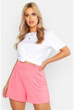 Womens Coral Plus Self Belt Flippy Shorts