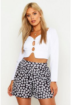 Womens Black Plus Floral Print Self Belt Flippy Shorts