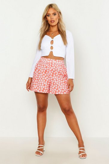 Womens Coral Plus Floral Print Self Belt Flippy Shorts