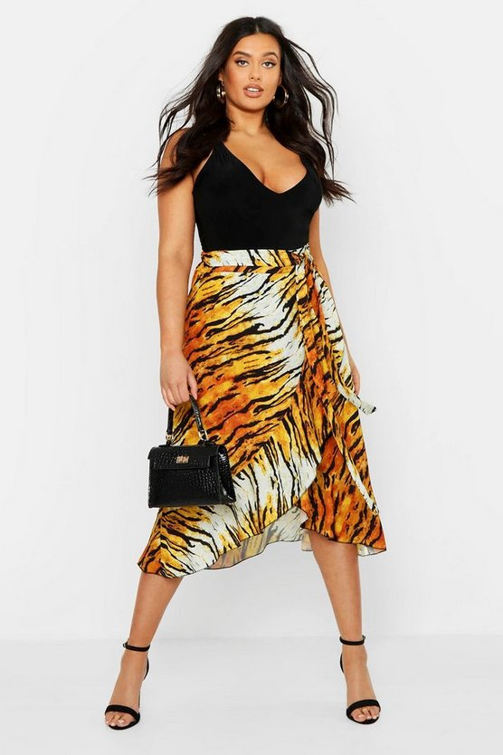 Tan Plus Tiger Print Ruffle Skirt