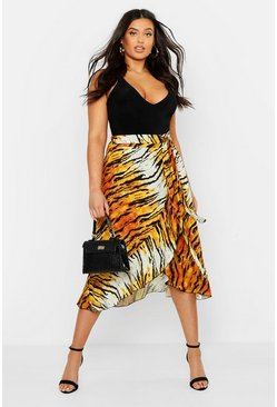 Womens Tan Plus Tiger Print Ruffle Skirt