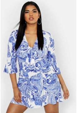 Womens Blue Plus Paisley Skater Dress