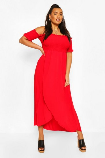 Red Plus Off Shoulder Maxi Dress