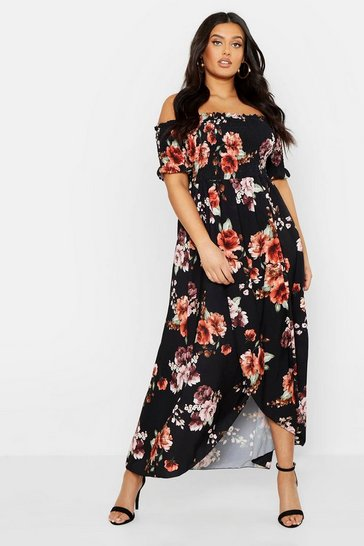 Womens Black Plus Floral Off Shoulder Maxi Dress
