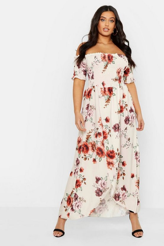 Womens Cream Plus Floral Off Shoulder Maxi Dress