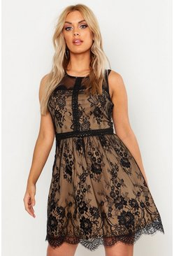 Dam Black Plus Lace Skater Dress