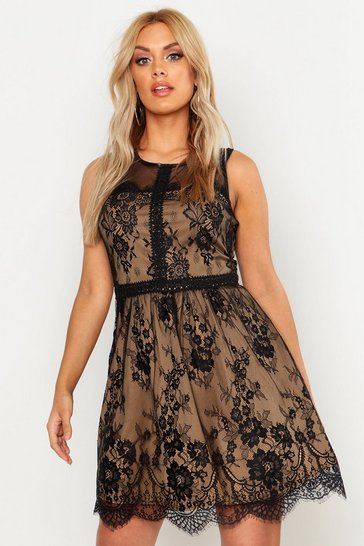 Womens Black Plus Lace Skater Dress