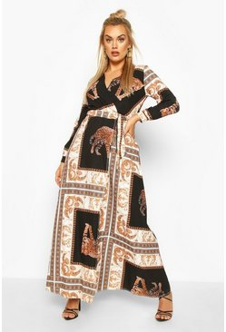 Womens Black Plus Chain Print Maxi Dress