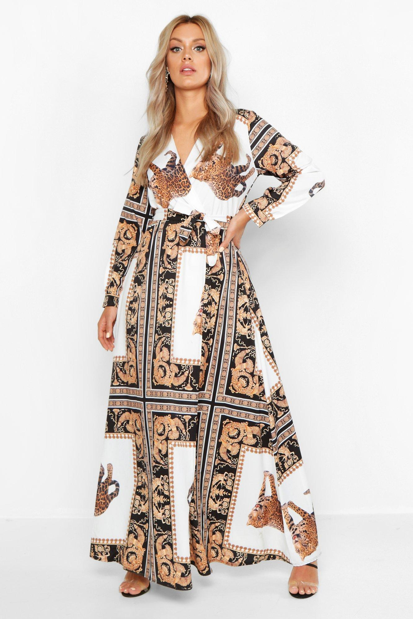 70s Outfits – 70s Style Ideas for Women Plus Chain Print Maxi Dress $62.00 AT vintagedancer.com