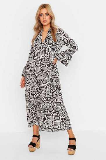 Womens Black Plus Smock Maxi Snake Dress