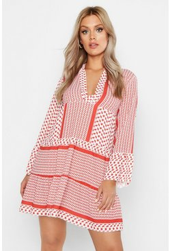 Rust Plus Tribal Print Smock Dress