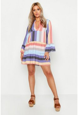 Purple Plus Patchwork Smock Dress