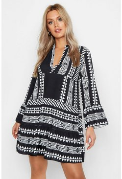 Womens Black Plus Aztec Smock Dress