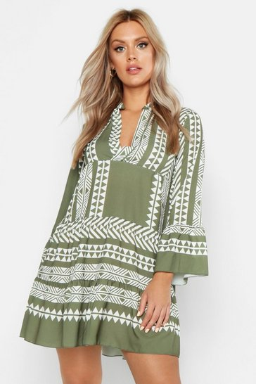 Womens Khaki Plus Aztec Smock Dress