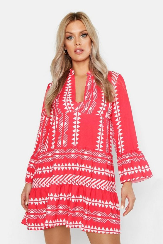 Womens Red Plus Aztec Smock Dress