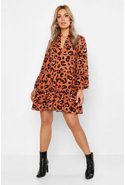 Womens Rust Plus Leopard Smock Dress