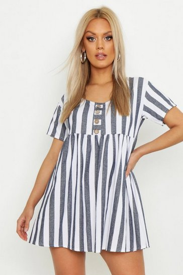 Womens Blue Plus Striped Smock Dress
